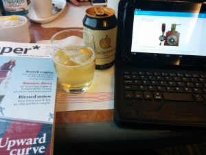 Netbook blogging on train